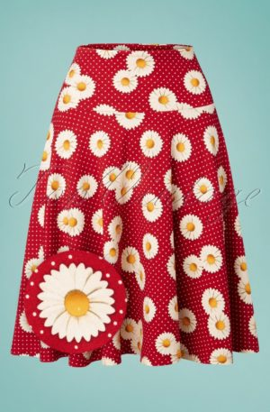 70s Daisy Circle Skirt in Polka Red