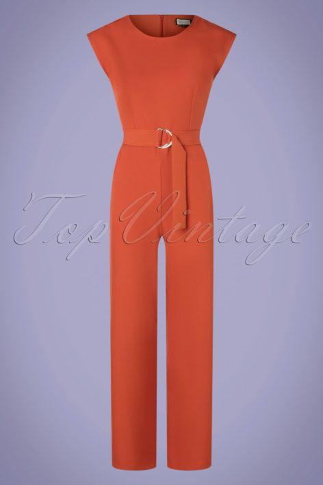70s Heart Eyes Jumpsuit in Uni Rust Orange