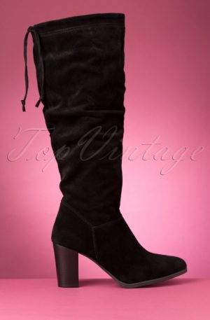 70s Maze Suede Boots in Black