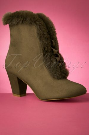 70s Tatiana Faux Fur Boots in Olive Green