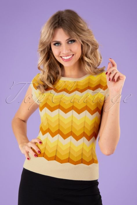 70s Yana Chevron Crew Neck Jumper in Yellow
