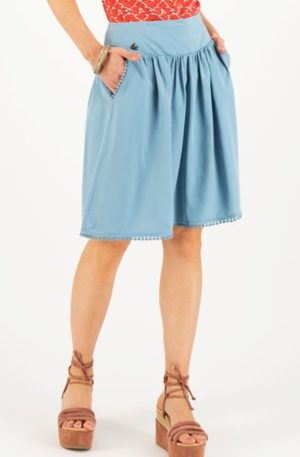 Blutsgeschwister Rock Logo Woven Skirt, pale blue von Rockabilly Rules