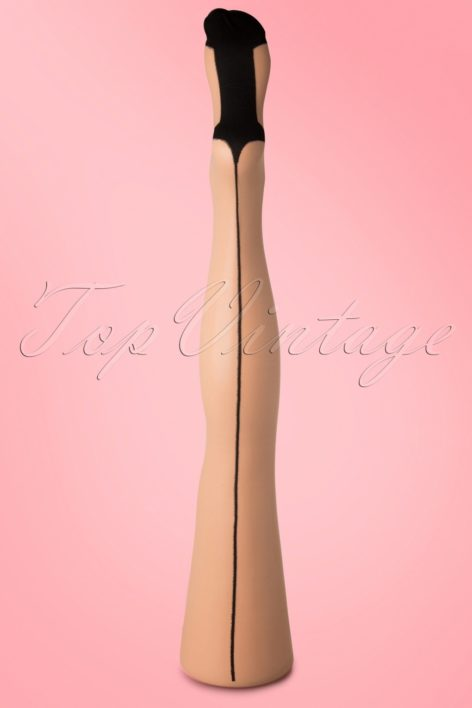 Classic Beige Seamer Tights with Black seam