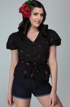 Collectif Bluse Mimma Mini Cherries von Rockabilly Rules