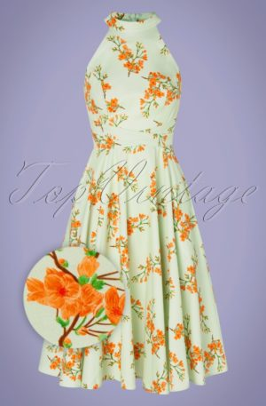 TopVintage exclusive ~ 50s Larissa Floral Swing Dress in Mint