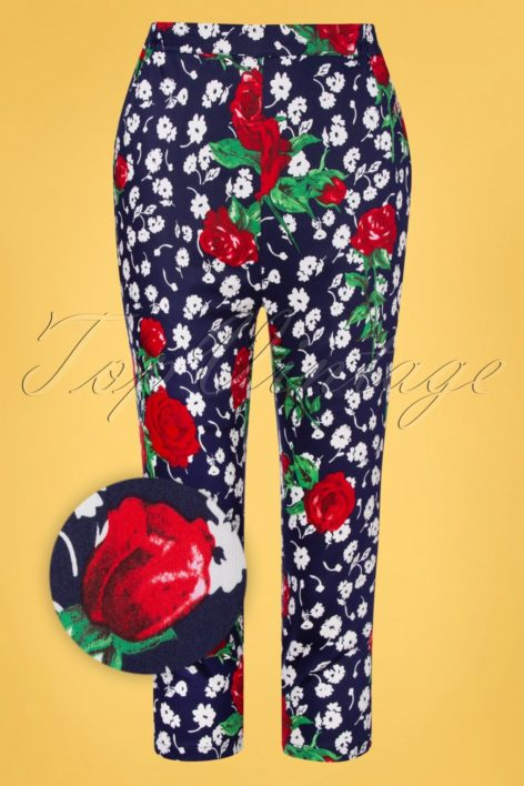 TopVintage exclusive ~ 50s Vivid Floral Capri Trousers in Navy