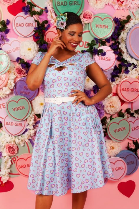 Unreal Redheads Collaboration ~ 50s Ginger Heart Swing Dress in Blue