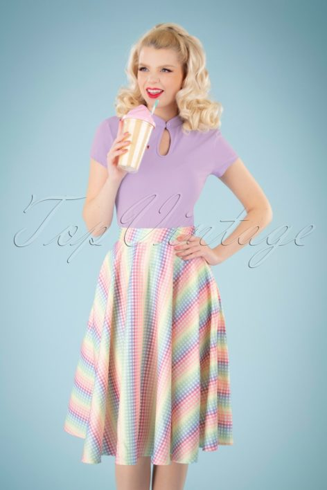 Unreal Redheads Collaboration ~ 50s Trixie Gingham Skirt in Rainbow