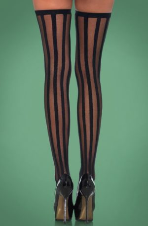Veronica Vertical Stripe Stockings in Black