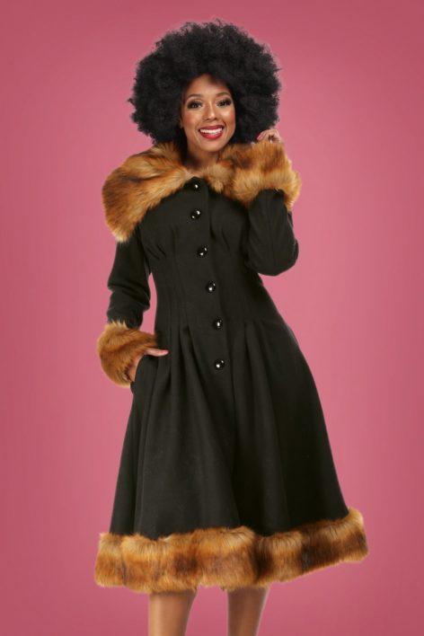 30s Pearl Coat in Black Wool