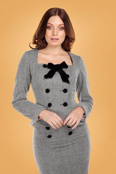 40s Agatha Herringbone Jacket in Black and White
