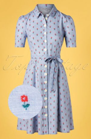 40s Jane Button Down Dress in Principessa Light Blue