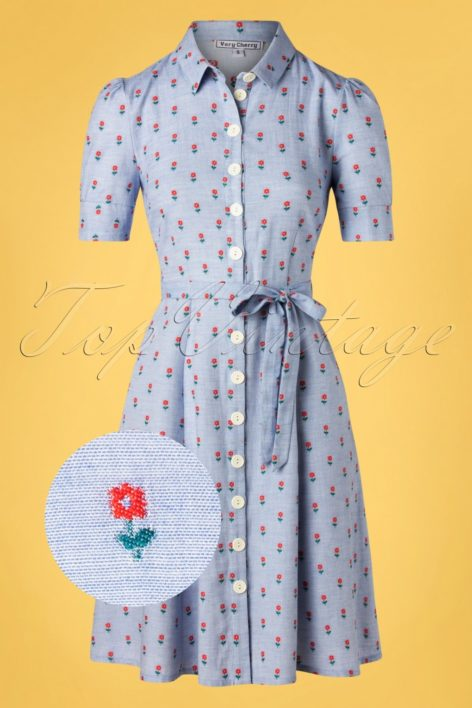 40s Jane Button Down Dress in Principessa Light Blue