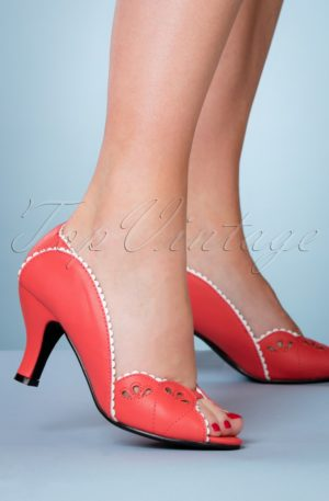 40s Ruby Woo Peeptoe Pumps in Coral
