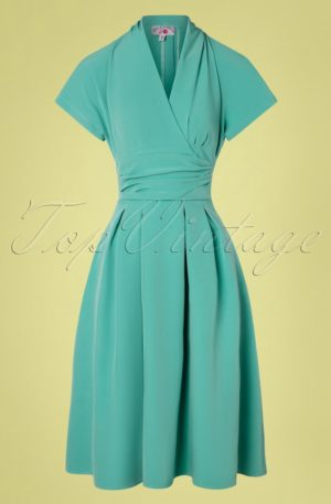 40s Sarita Tiffany Day Dress in Mint Blue