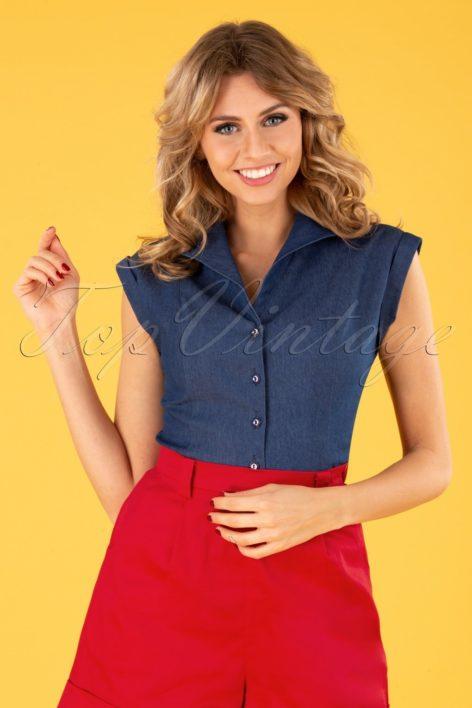 40s Sweet Sailor Blouse in Denim Blue