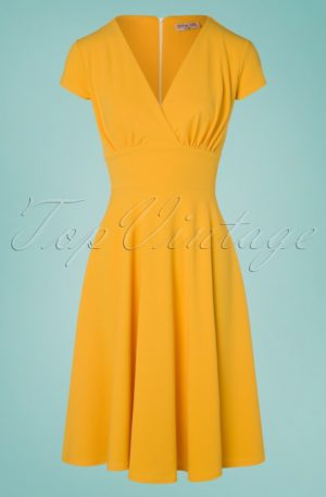 50s Addison Swing Dress in Honey Yellow