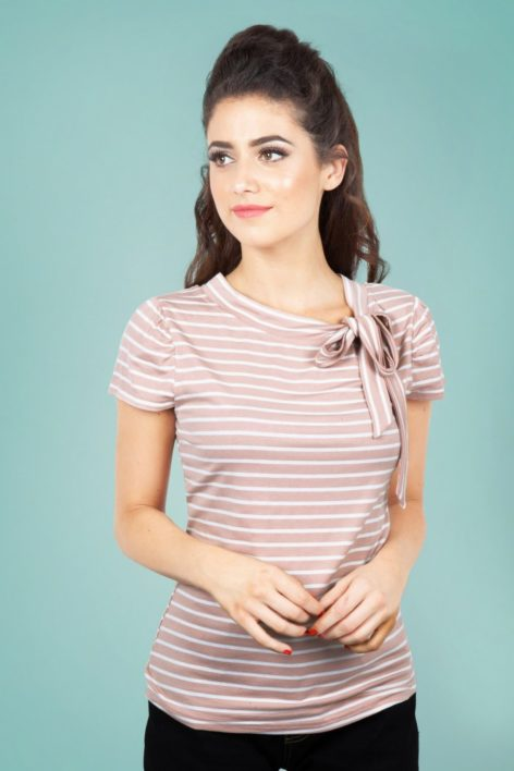 50s Alexa Stripes Bow Top in Pink and White