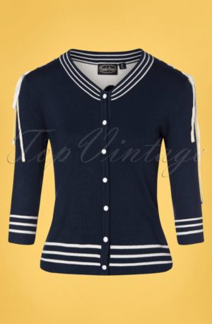 50s Ally Anchor Cardigan in Navy
