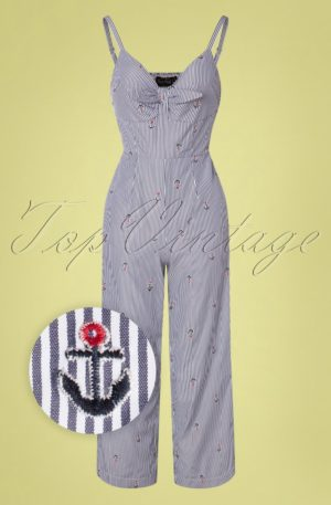 50s Andy Anchor Jumpsuit in Blue