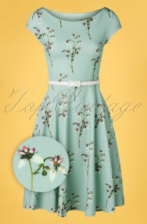 50s Arabella Swing Dress in Blue Floral