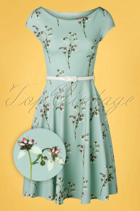 50s Arabella Swing Dress in Blue Floral