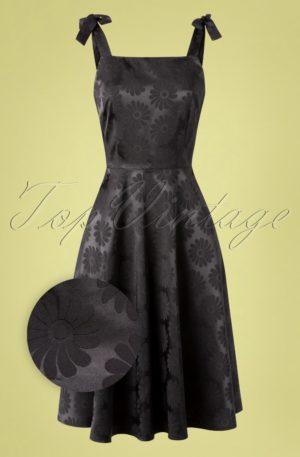 50s Begonia Floral Skater Dress in Black