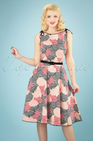 50s Bettie Parasol Swing Dress in Multi