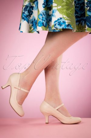 50s Bettie Pumps in Nude