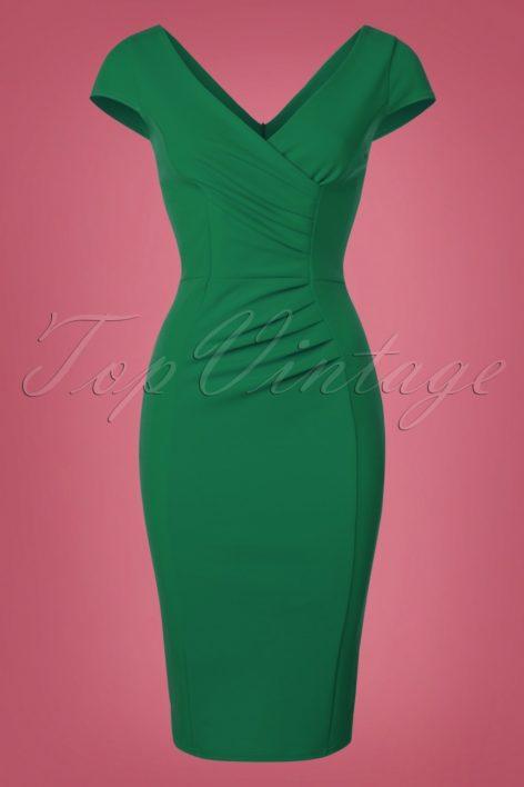 50s Brenda Pencil Dress in Emerald Green