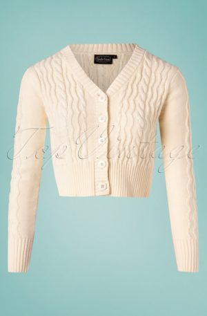 50s Camilla Fishermans Knit Crop Cardigan in Cream