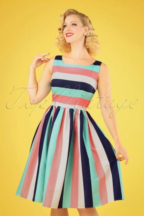 50s Candice Striped Swing Dress in Seaside Stripes