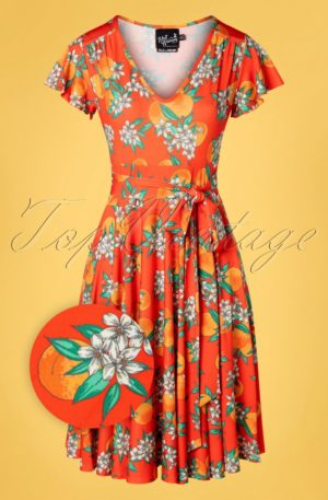 50s Castellana Swing Dress in Orange