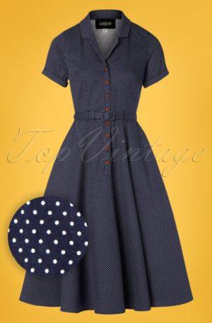50s Caterina Mini Polka Dot Swing Dress in Navy