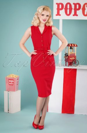 50s Caterina Pencil Dress in Red