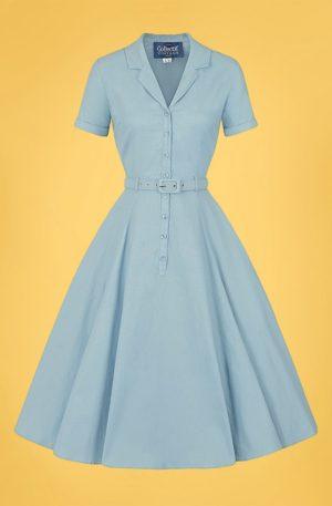 50s Caterina Swing Dress in Blue