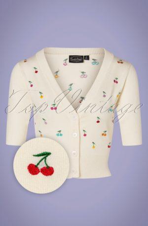 50s Catorina Cherries Cardigan in Cream