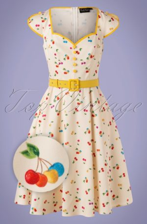 50s Chacha Cherry Swing Dress in Cream
