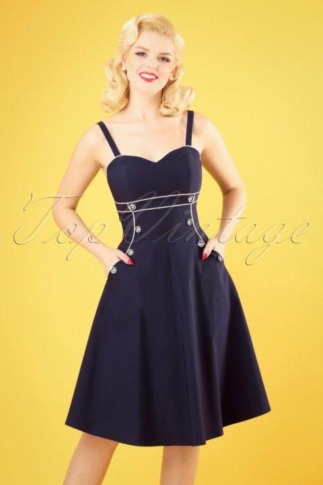 50s Claudia Nautical Swing Dress in Navy