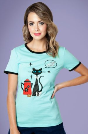 50s Coffee Cat T-Shirt in Mint