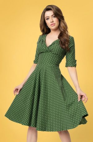 50s Delores Dot Swing Dress in Green and White