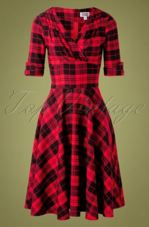 50s Delores Plaid Swing Dress in Red and Black