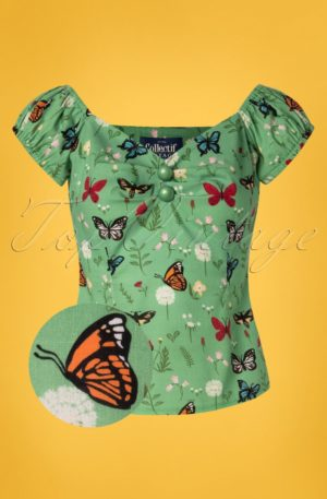 50s Dolores Butterfly Top in Green