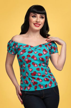 50s Dolores Strawberry Top in Blue