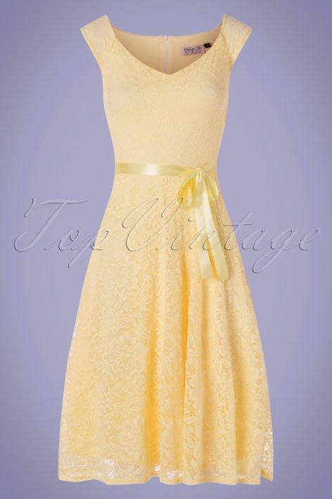 50s Elvina Lace Swing Dress in Pastel Yellow