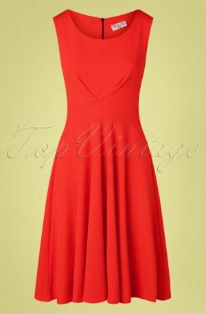 50s Emery Swing Dress in Fiesta Red