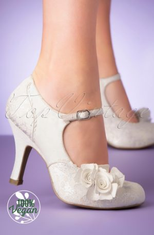 50s Emily Pumps in White and Silver
