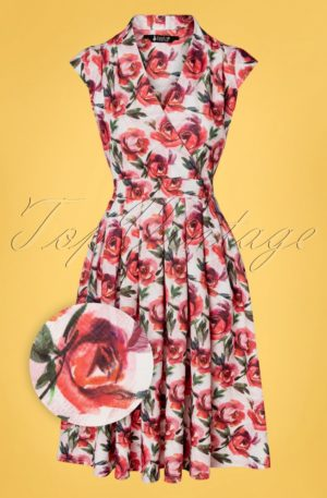 50s Eva Picture Perfect Rose Swing Dress in White