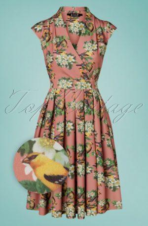 50s Eva Trio Birds Swing Dress in Vintage Pink