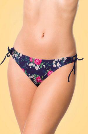50s Feline Floral Bikini Pants in Dark Blue